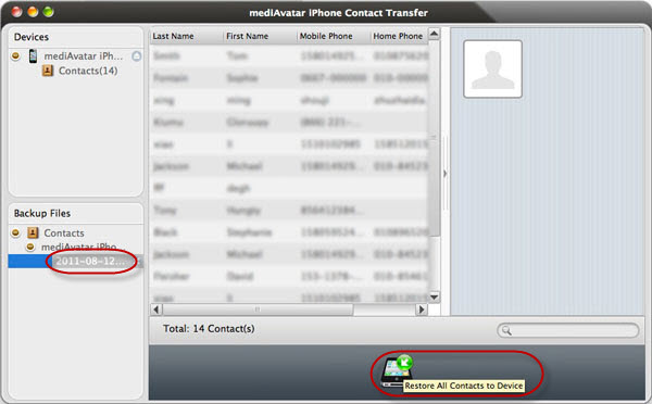 backup iPhone contacts and restore on Mac